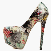 Marilyn Monroe's Vintage Print High Heeled Shoes