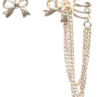 Metal Bow Earrings & Ear Cuff | Wet Seal