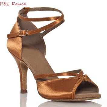 Customize Heels Women's Latin Dance Shoes Satin Buckle Ballroom Dancing Shoes for Wom