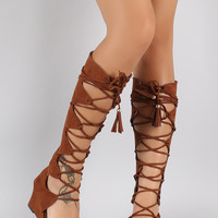 Qupid Suede Open Toe Gladiator Lace Up Wedge Sandal
