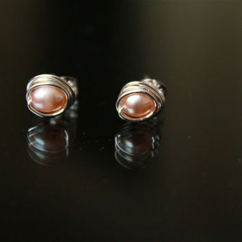 Pearl Stud Ear Rings Sterling Silver peach Wire wrapped Metal Jewelry Handmade Eco Friendly Luxe Style