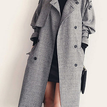 Long Sleeve Notched Collar Long Coat