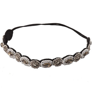 Fashion Retro Style Women HairBand Crystal Rhinestone Gray Beads Headband Hair Band