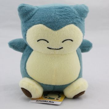 "1pcs6 ""15cm Pokemon Snorlax plush toys dolls standard rare animals doll gift for children kabishou"