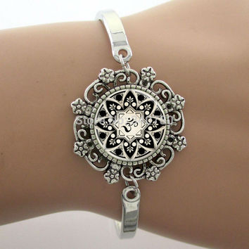 Yoga Picture Glass Cabochon Dome Lace Flower Charm Bracelet Women's Love Christmas Gift Good Quality 1 pc Cuff Bangles