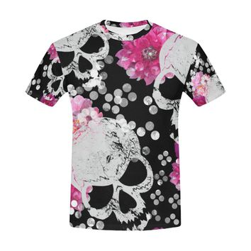 flowers and skulls Floral gothic Pattern All Over Print T-Shirt for Men (USA Size) (Model T40)