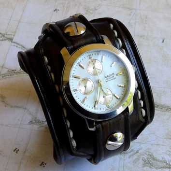 Leather Wrist Watch, Men's watch, Leather Cuff, Bracelet Watch, Watch Cuff, Mens Gift, Multi functional dial, brown