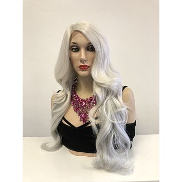 Gray Silver Front Lace Wig | Long Volume Curls Soft Layered Hair | Cameron