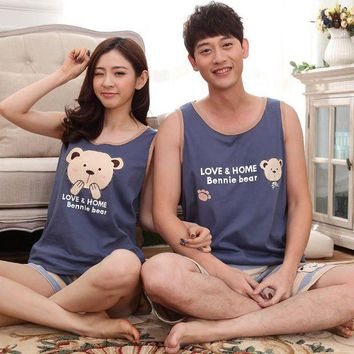 VONG2W New Summer Pijamas Sleeveless Pajamas Cartoon Couple Pajamas Sets Bear Print Sleepwear For Women Blue Men Pyjamas Striped Pants