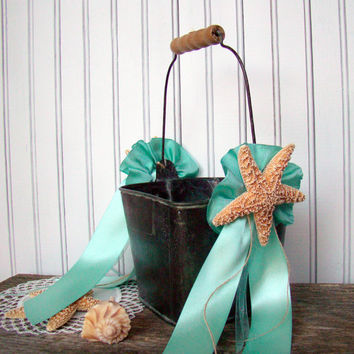 Beach Wedding Flower Girl Basket Pail, Starfish, Wedding Favor Container, Wedding Decor, Beach Decor, Pew Decoration, Beach