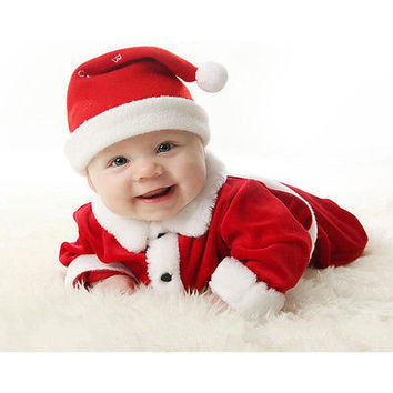 Cute Newborn Christmas Baby Girls Boy Santa Elf Costume Hat Rompers Clothes Set
