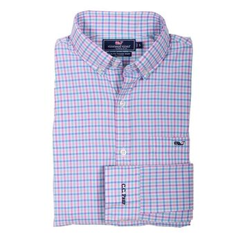 Custom Sweetgum Gingham Slim Tucker Shirt in Allium by Vineyard Vines