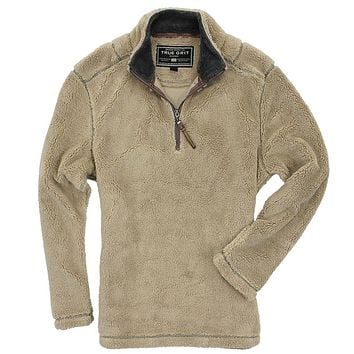 Pebble Pile Pullover 1/2 Zip in Sandstone by True Grit - FINAL SALE