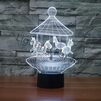 3D LED Carousel Lamp With 7 Changable Colors