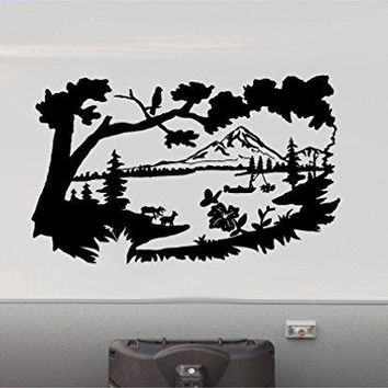 COLOR BLACK Mountains Lake Pine Tree RV Camper Vinyl Decal Sticker Scene 2