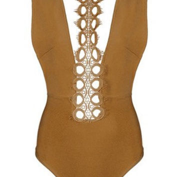 Lovers Only Crochet Brown Bandage Bodysuit