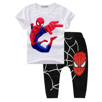 Boys Clothes Summer 2017 New Spiderman Toddler boys Clothing Set Cute Cartoon Print Organic Cotton Baby Boys Suits Fashion