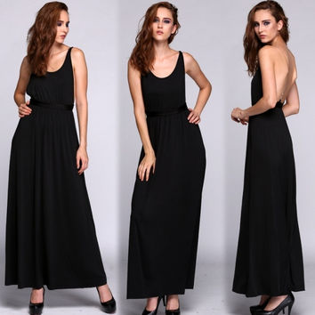 Hotsale New Women Black Strap Formal Prom Dress Cocktail Ball Evening Party Long Dress