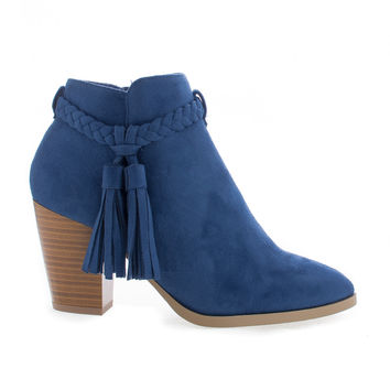 Issey Blue F-Suede by Delicious, Blue Suede Western Tassel Stacked High Heel Ankle Boots