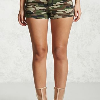 High-Waist Camo Denim Shorts