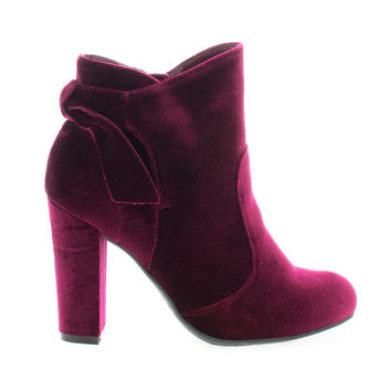 Hiltop48 by Bamboo, Burgundy Velvet Block Heel Ankle Booties W Bow