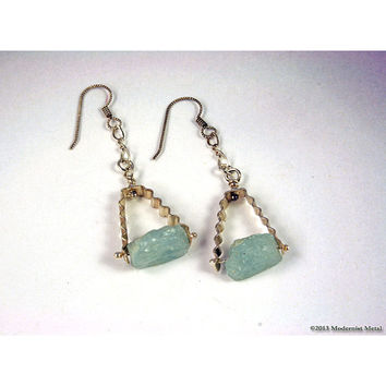 In The Rough Sterling and Aquamarine Modern Art Earrings One of a Kind Boho Edgy