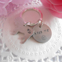 Kiss Me Hand Stamped Keychain With English Or French Bulldog Or Chihuahua Or Pug Charm