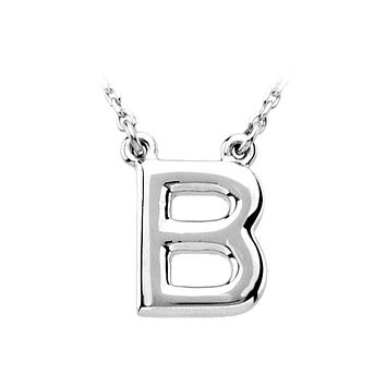 Block initial Necklace in 14k White Gold, Letter B