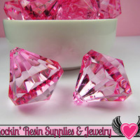 5 Bling Diamond Pendants in Cotton Candy Pink, Chunky Bubblegum Bead Acrylic Drop Centers, Transparent Faceted Drops, 28x31mm
