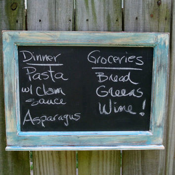painted wood framed chalkboard blue white distressed paint m