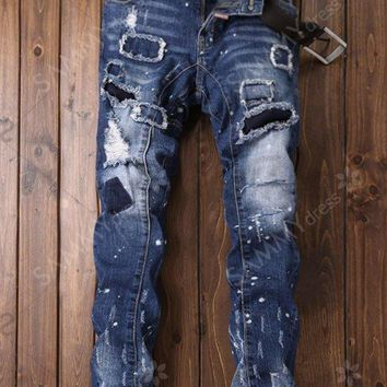 Zipper Fly Paint Print Patch Ripped Jeans - Blue