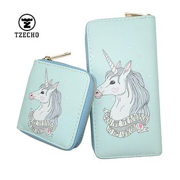 TZECHO Zipper Around Women Wallet With Phone PU Cartoon Unicorn Clutch Purses Small Rfid Credit Cards Holder Long Ladies Wallets