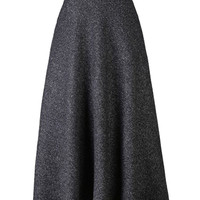 Black High Waist Pocket Detail Woolen Midi Skirt