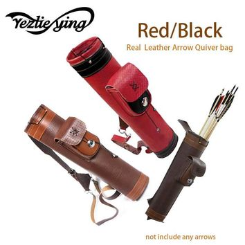 Real leather Traditional Archery Shoulder Back Quiver Bow Genuine Leather Arrow Holder Bag Hunting Archery Tackle Gear