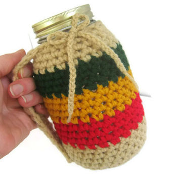 Rasta Crocheted Mug Holder with Handle. Red Gold Green and Tan, Reduce your Impact Mason and Kerr Quart Size Jar