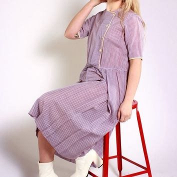 Violet Houndstooth Pleated Dress / M
