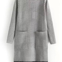 Grey Stripe Long Sleeve Knitted Fringed Mini Dress with Pocket