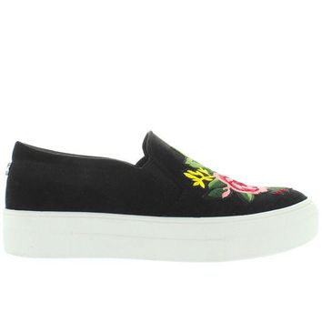 ONETOW Steve Madden Garden - Black/Multi Embroidered Slip-On Platform Sneaker