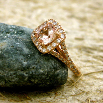 Antique Cushion Cut Natural Pink Morganite by AdziasJewelryAtelier