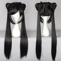 long black Straight Lolita Women Wig With Two Ponytails Anime Cosplay Wig  free shipping Macchar Cosplay Catalogue
