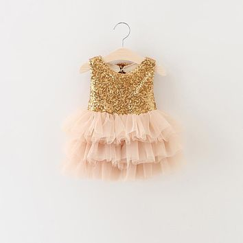 Girls Clothes Summer 2017 Gold Sequins Dress For Birthday Evening Prom Party Pink Puffy Tutu Dress For Baby Kids Girls Clothing