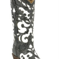Corral Antique Black / White Inlay Cowgirl Boots
