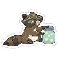 'Funny little raccoon collects crickets' Sticker by PenguinHouse