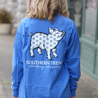 Distressed Polka Dot Proud Pig Long Sleeve Tee {Mystic Blue}