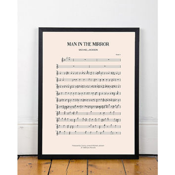 Man in the Mirror, Michael Jackson, bedroom art, Printable wall art decor poster, kitchen art, music art, INSTANT DOWNLOAD, sheet music.