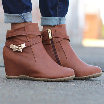 Cici Hidden Wedge Booties {Camel}