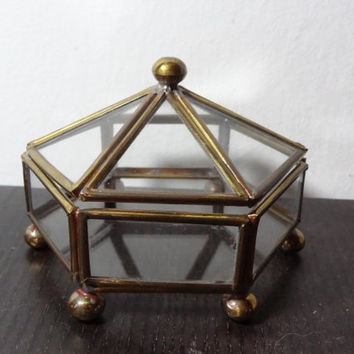Vintage Glass and Brass Display Small Hexagon Shaped Case/Box with Door on the Top and Feet - Hollywood Regency/Mid Century Modern