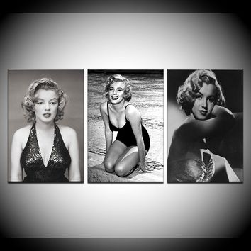 3 Panel Modern SEXY Marilyn Monroe Swimsuit Black White Canvas Wall Print