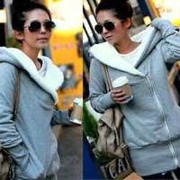 New Fashion Korea Women Warm Outerwear Hooded Zip Hoodie Fleece Jacket Coat