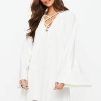 Missguided - White Smock Lace Up Flared Sleeve Mini Dress